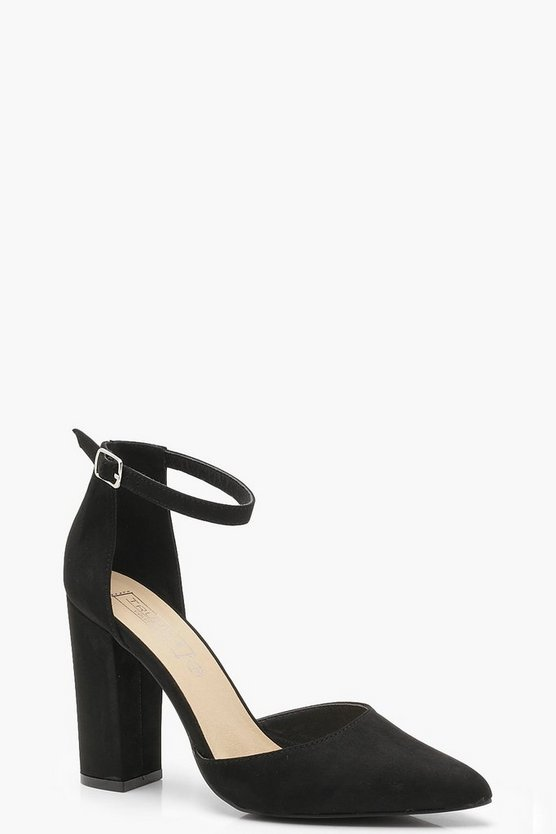 Wide Fit Pointed Toe Block Heels