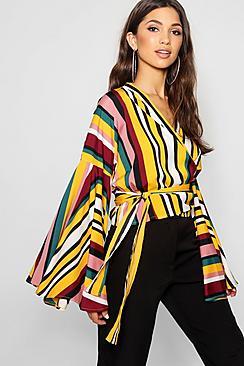 Women's 70s Shirts, Blouses, Hippie Tops Kelly Stripe Extreme Kimono Wrap Crop $38.00 AT vintagedancer.com