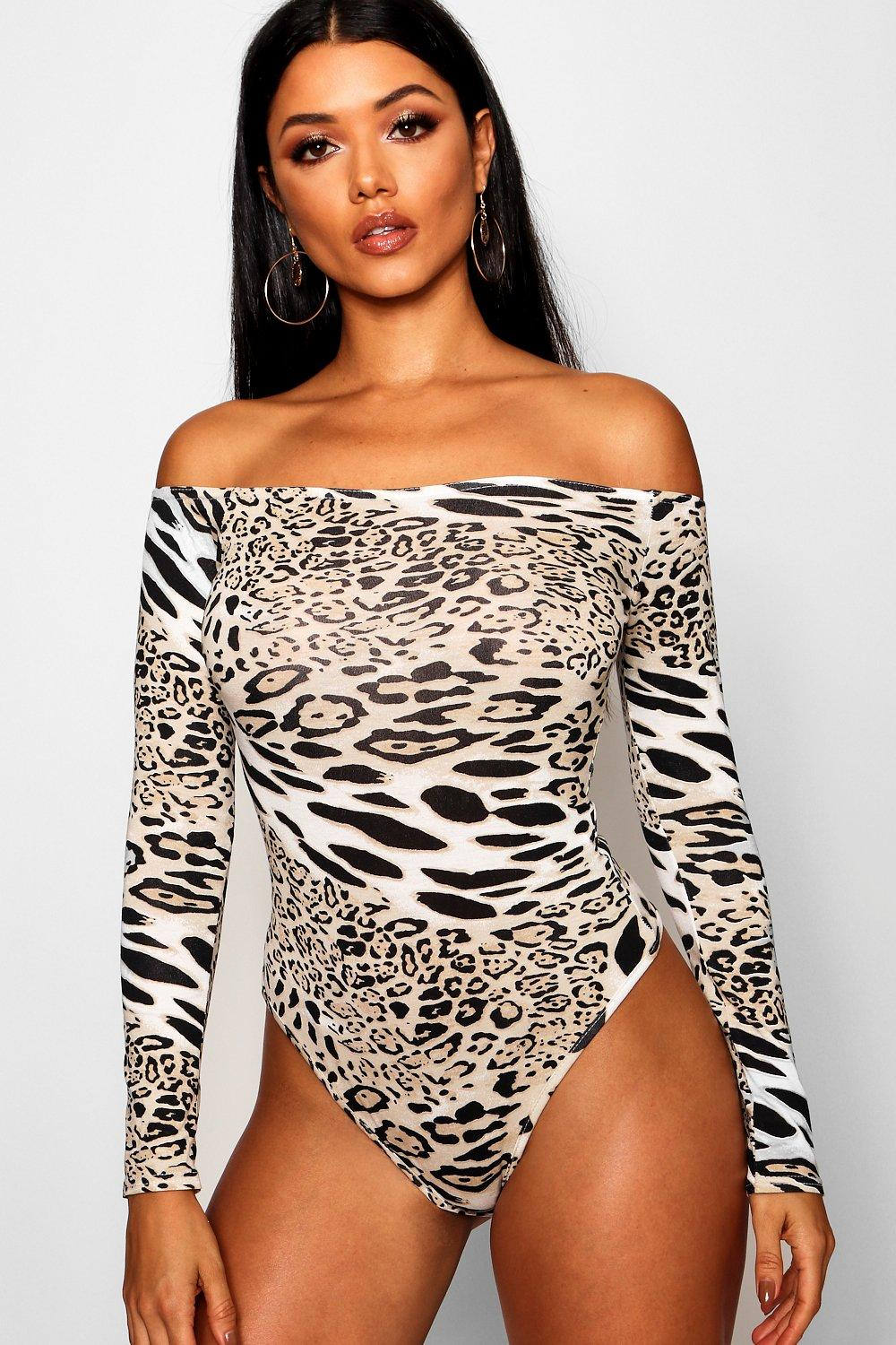 Bodysuit tan Shoulder Leopard Print Off The wg00ICZqW