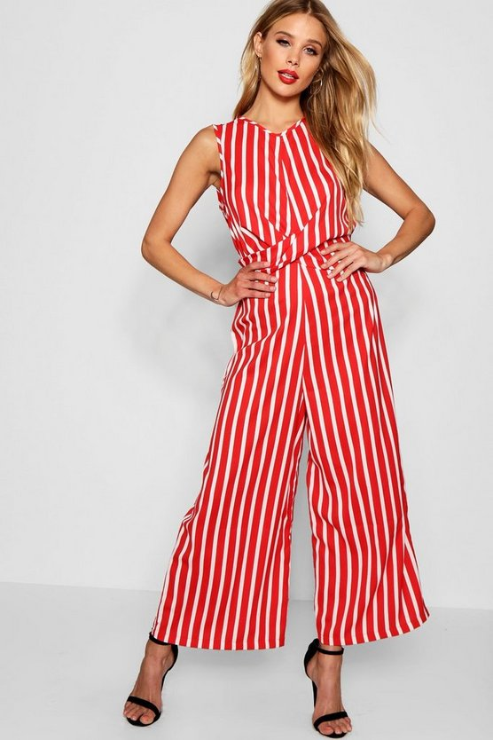 Evelyn Twist Front Sleeveless Stripe Jumpsuit