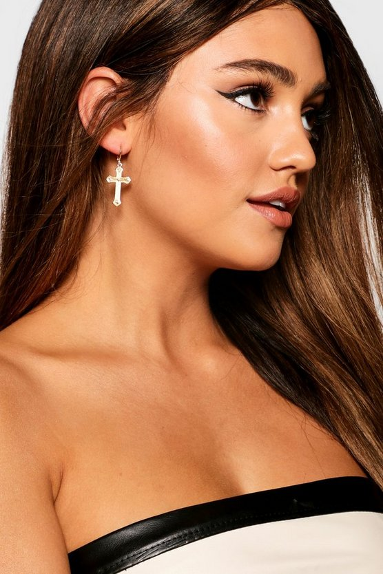 Gold Erin Cross Charm Hoop Earrings