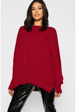 Oversized Balloon Sleeve Knitted Jumper, Berry, Donna