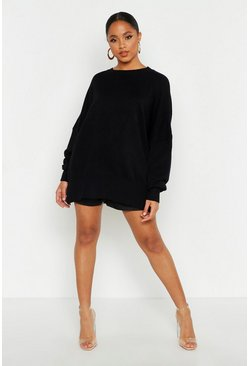Womens Black Oversized Balloon Sleeve Knitted Jumper