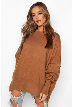 Womens Cumin Oversized Balloon Sleeve Knitted Sweater