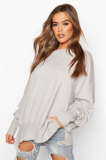 Grey Oversized Balloon Sleeve Knitted Jumper