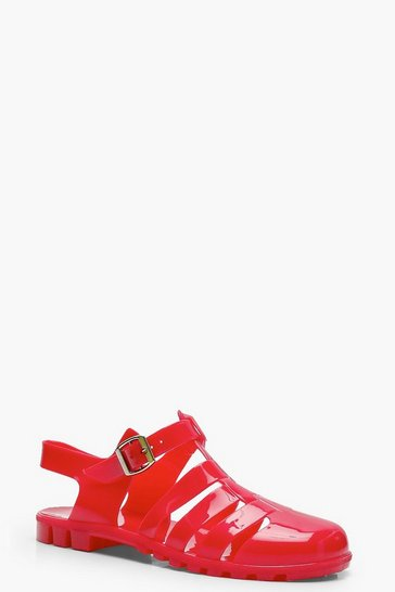 Womens Red Flat Jelly Shoes