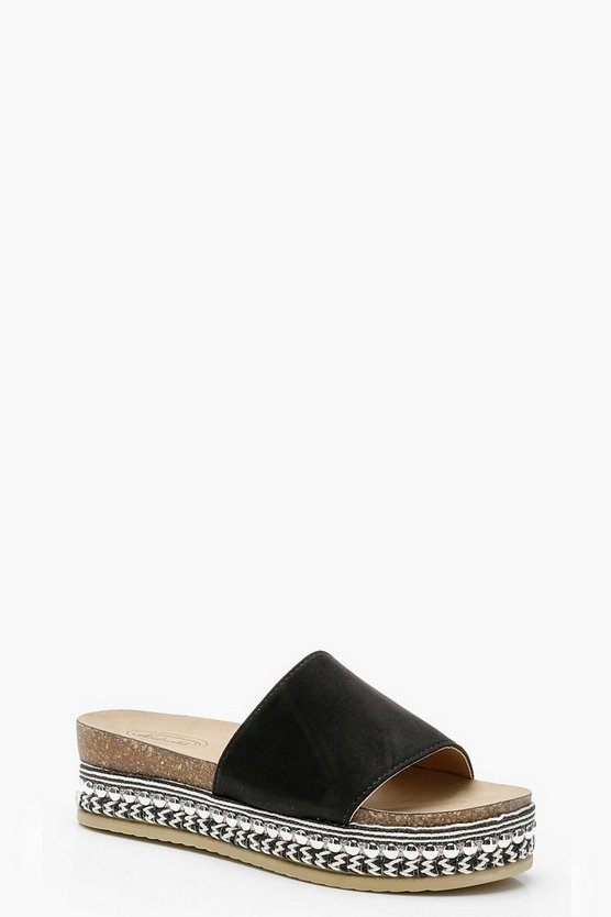 Flatform Rope Detail Espadrille Sliders