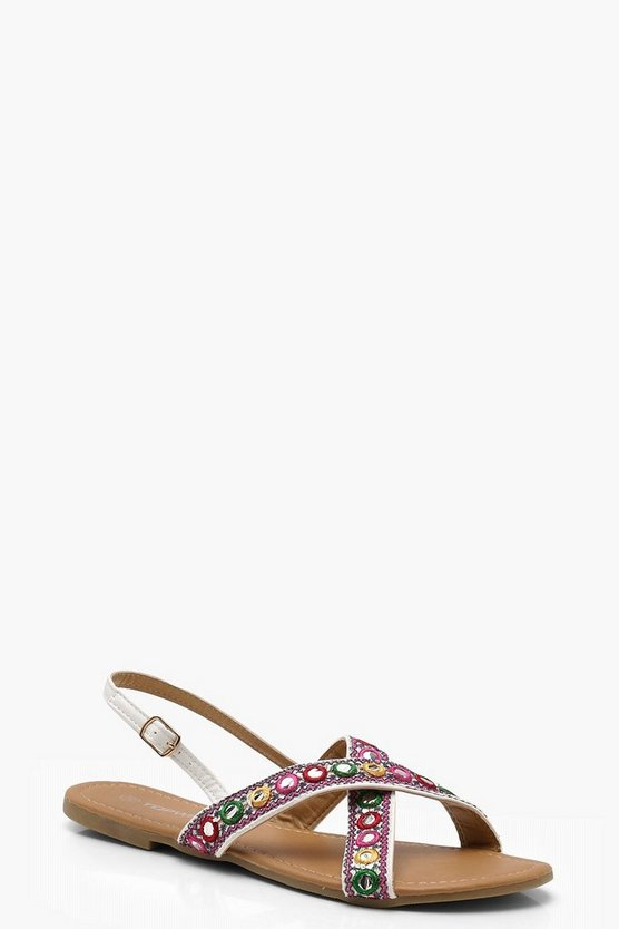 Womens White Mirror Embellished Sandals