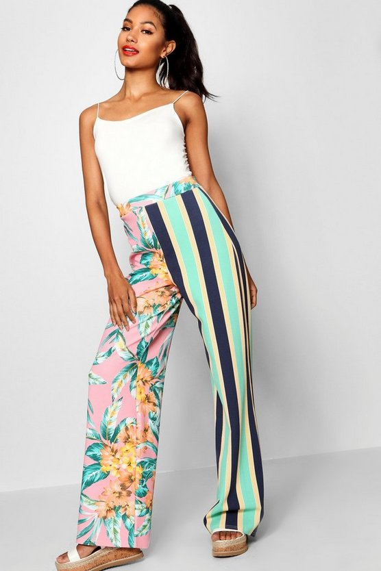 Womens Pink Tia Stripe & Floral Mix Wide Leg Trouser