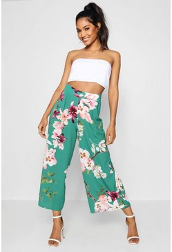 Womens Emerald High Waist Oriental Wide Leg Culotte