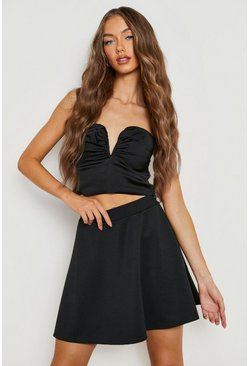 Womens Black Basic Micro Fit & Flare Skater Skirt