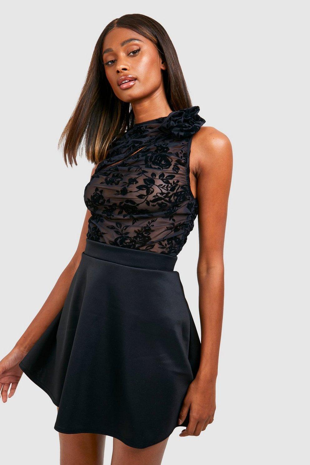 29ff010cd15cd Womens Black Basic Micro Fit & Flare Skater Skirt