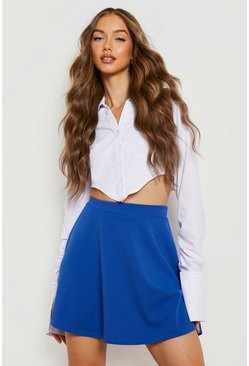 Womens Cobalt Basic Micro Fit & Flare Skater Skirt