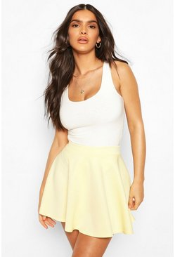Yellow Basic Micro Fit & Flare Skater Skirt