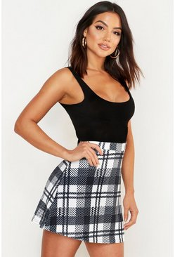 Black Monochrome Check A Line Mini Skirt