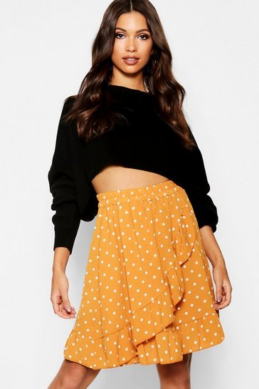 Womens Mustard Woven Polka Dot Ruffle Mini Skirt