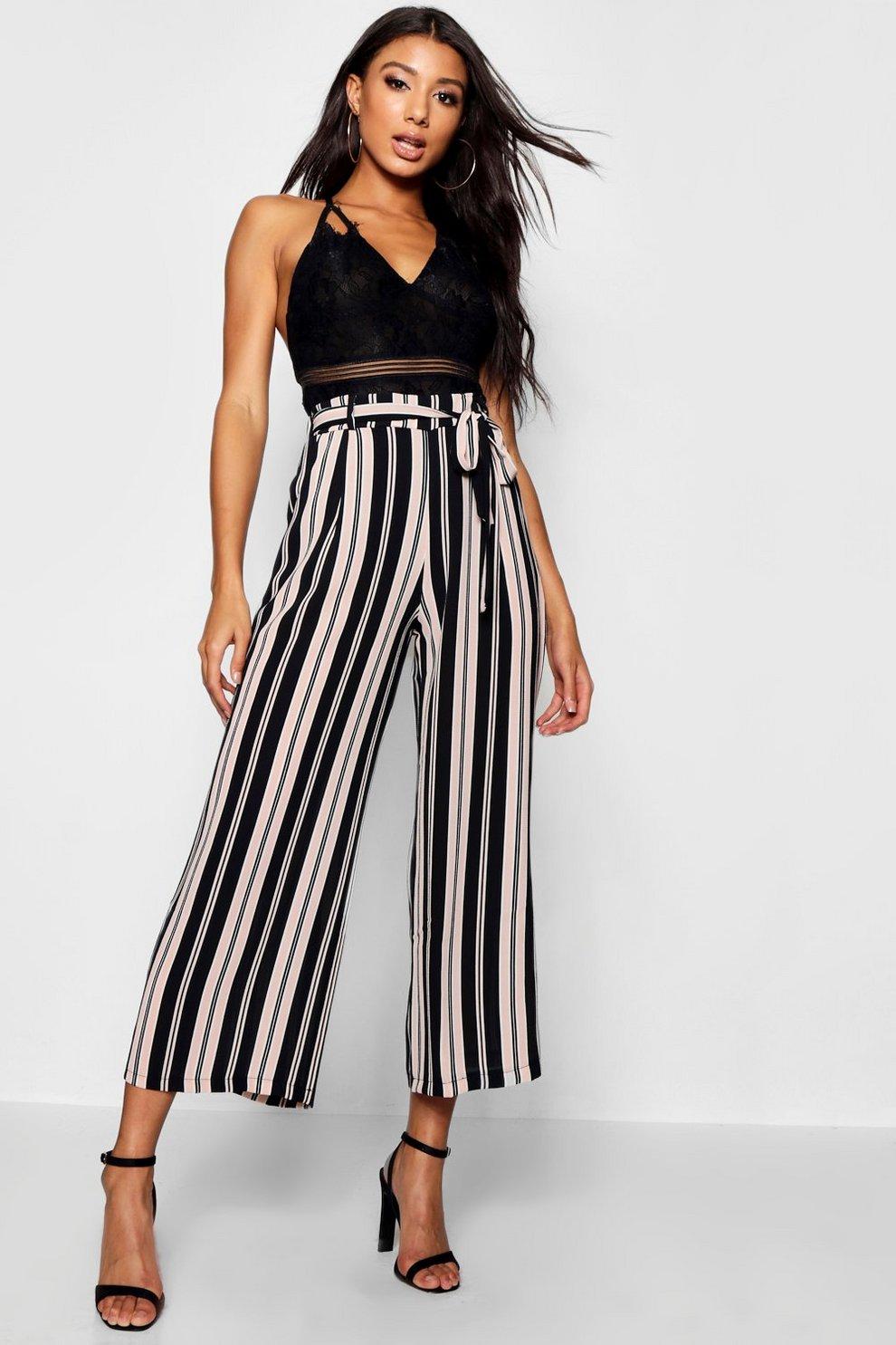 2d0690c550c2 Paige Woven Stripe Crop Wide Leg Trouser | Boohoo