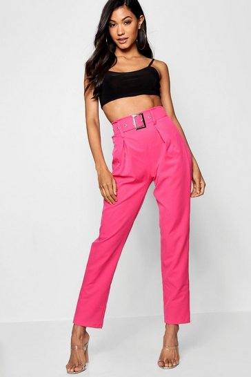 Womens Hot pink Belted Highwaist Woven Slim Fit Trousers
