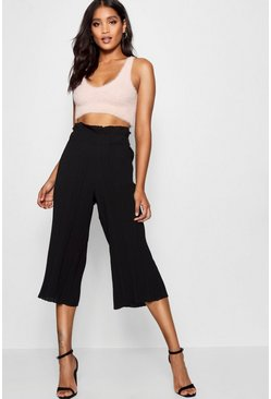 Womens Black Pleated Wide Leg Culottes
