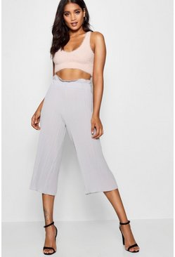 Womens Grey Pleated Wide Leg Culottes