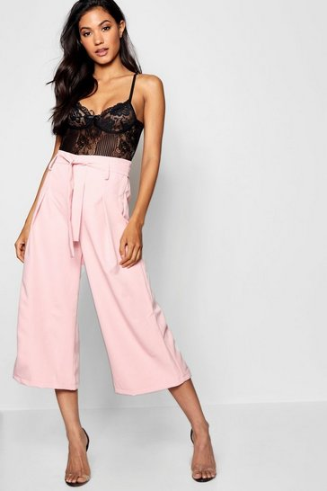 Womens Nude Amelie Pleated Waist Wide Leg Culottes