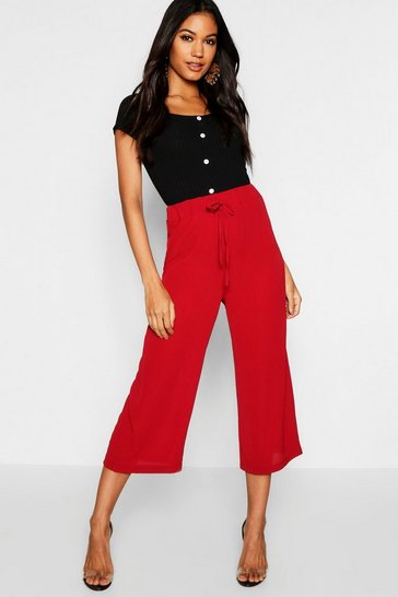 Womens Berry Libby Tie Waist Woven Crepe Culottes