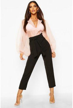 Black Tessa High Waist Woven Slimline Trousers