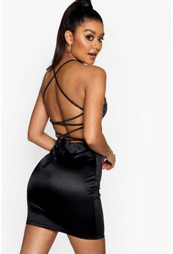 Womens Black Satin Square Neck Strappy Back Bodycon Dress