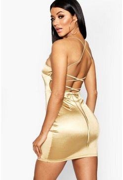 Gold Satin Square Neck Strappy Back Bodycon Dress