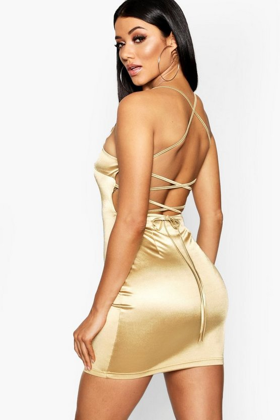 Satin Square Neck Strappy Back Bodycon Dress, Gold, Donna