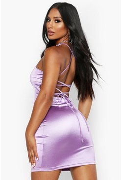 Lilac Satin Square Neck Strappy Back Bodycon Dress