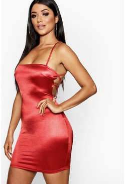 Satin Square Neck Strappy Back Bodycon Dress, Red