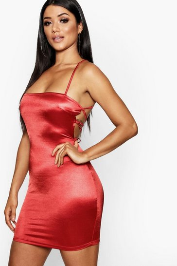 Red Satin Square Neck Strappy Back Bodycon Dress