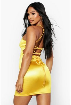Yellow Satin Square Neck Strappy Back Bodycon Dress