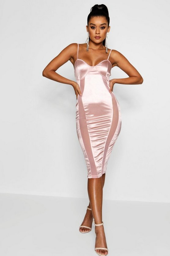 Polly Satin and Mesh Insert Midi Dress