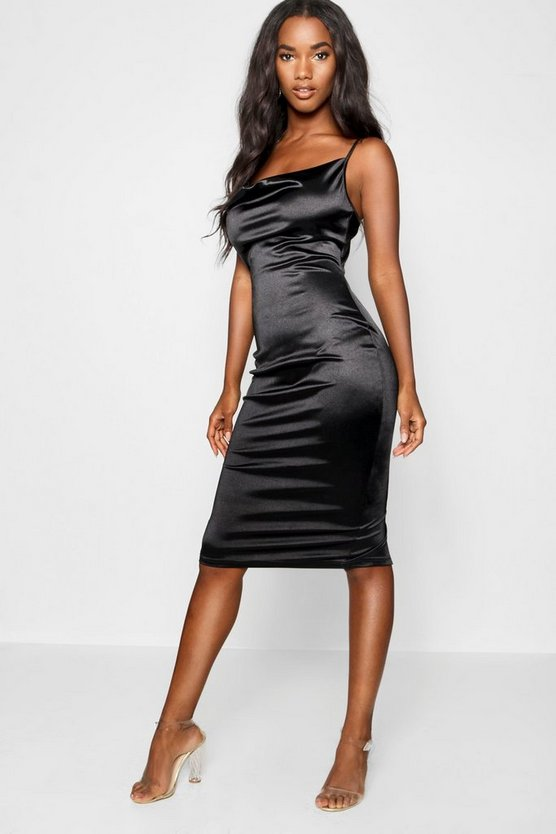 Satin Cowl Neck Midi Dress