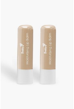 Pretty Shea Butter 2 Pck Moisturising Lip Balms, White, Donna