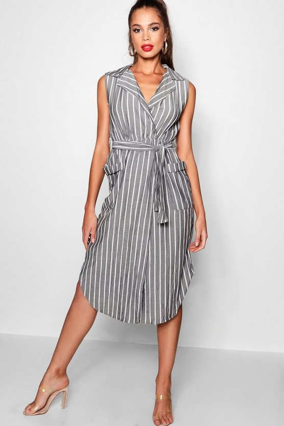 Grey Maye Woven Stripe Pocket Front Shirt Dress