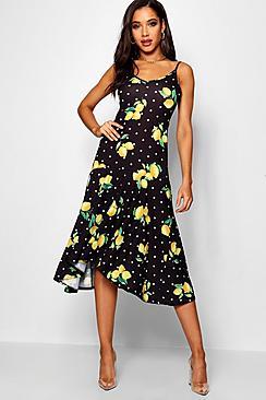 Ruffle Hem Lemon Print Maxi Dress