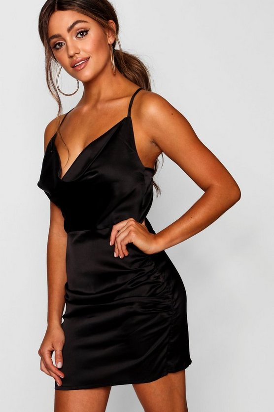 Womens Black Florence Satin Cowl Neck Bodycon Dress