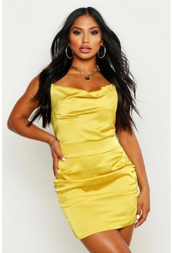 Chartreuse Florence Satin Cowl Neck Bodycon Dress