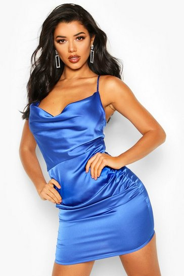 Womens Cobalt Florence Satin Cowl Neck Bodycon Dress