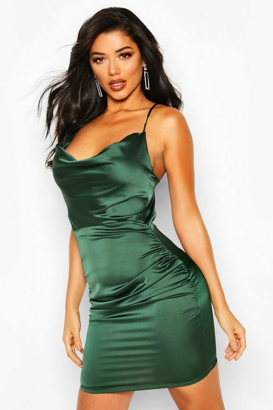 Womens Green Florence Satin Cowl Neck Bodycon Dress