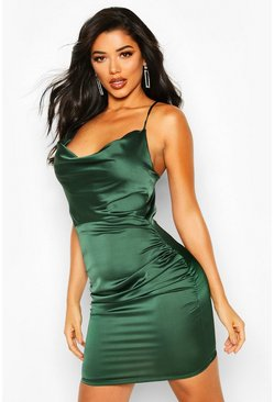 Green Florence Satin Cowl Neck Bodycon Dress