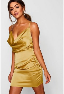 Womens Mustard Florence Satin Cowl Neck Bodycon Dress