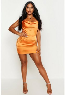Womens Orange Florence Satin Cowl Neck Bodycon Dress
