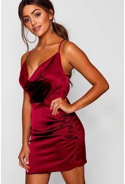 Florence Satin Cowl Neck Bodycon Dress, Red, Donna