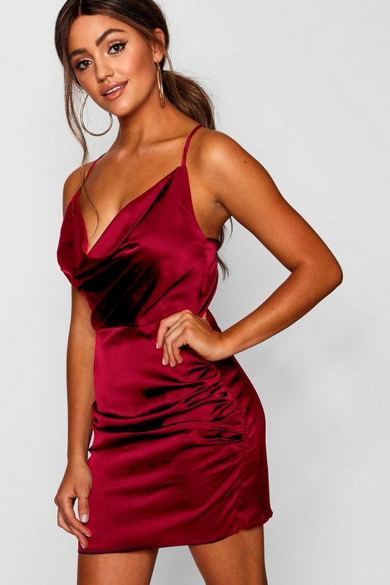 Womens Red Florence Satin Cowl Neck Bodycon Dress
