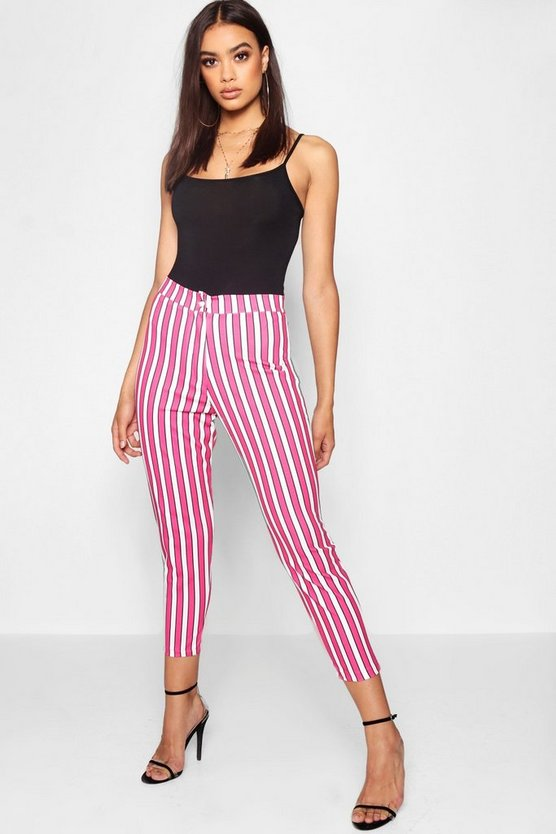 Womens Hot pink Stripe Tapered Trouser