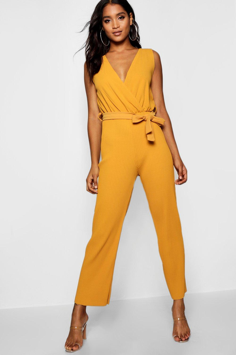 mustard Jumpsuit Tie Pleated Tillie Cullote Detail Wrap Pw1Sa7qF